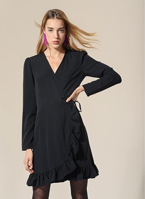 Agenda Anvelop Volanlı Elbise Siyah